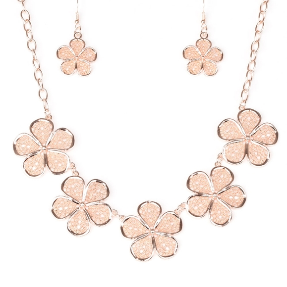 Paparazzi No Common Daisy Rose Gold Necklace Set